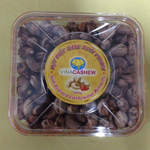 Salted cashew nuts shell square silk 500g jar